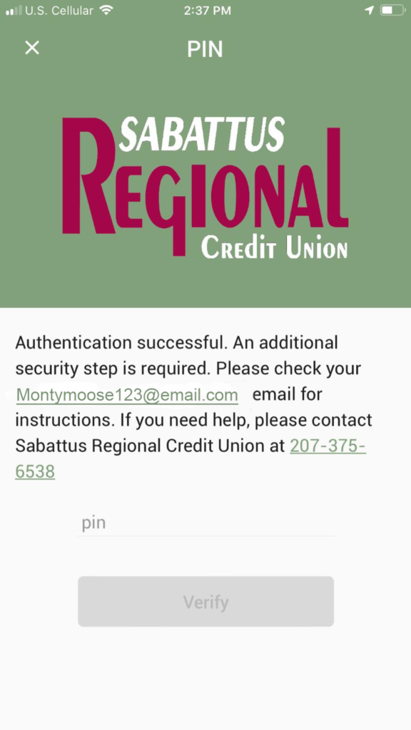 Mobile Banking Screenshot showing new security feature